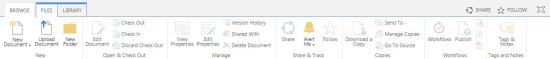 Ribbon on document library