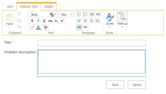 Ribbon when editing a rich-text field on a form dialog