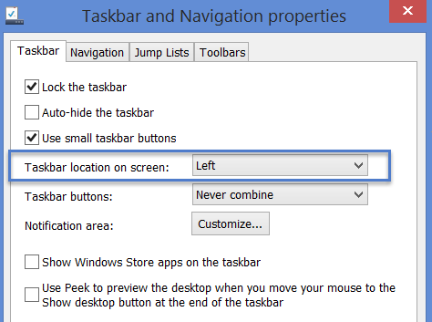how to make the taskbar on the side