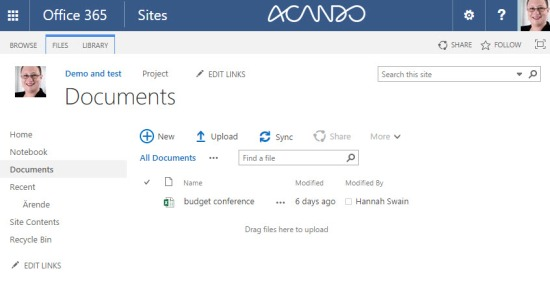 A standard document library view